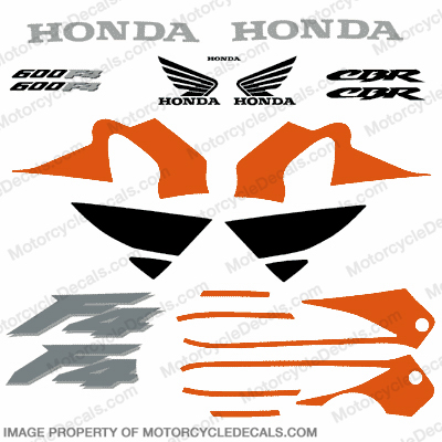 F4 Full Replica Decal Kit - Orange/Black