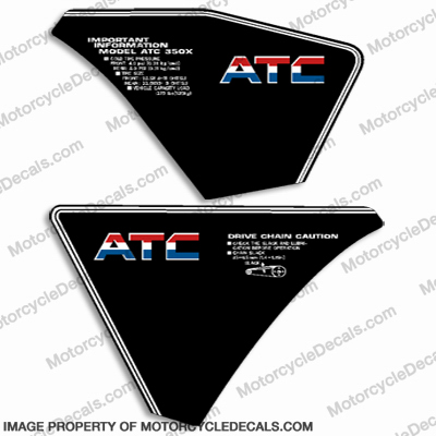 Honda 350X Rear Fender Decals - 1985