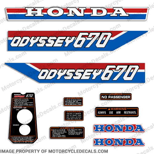 Honda Odyssey FL670 Decal Kit 1985 - 1986