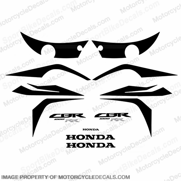 2008-2011 Honda 1000RR Full Factory Replica Decal Kit - Black