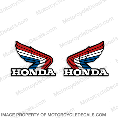 Honda Vintage Wing Decals - Red/White/Blue