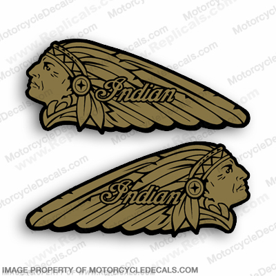 Indian Gas Tank Decals (Set of 2) - Metallic Gold