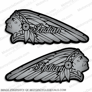 Indian Gas Tank Decals (Set of 2) - Metallic Silver