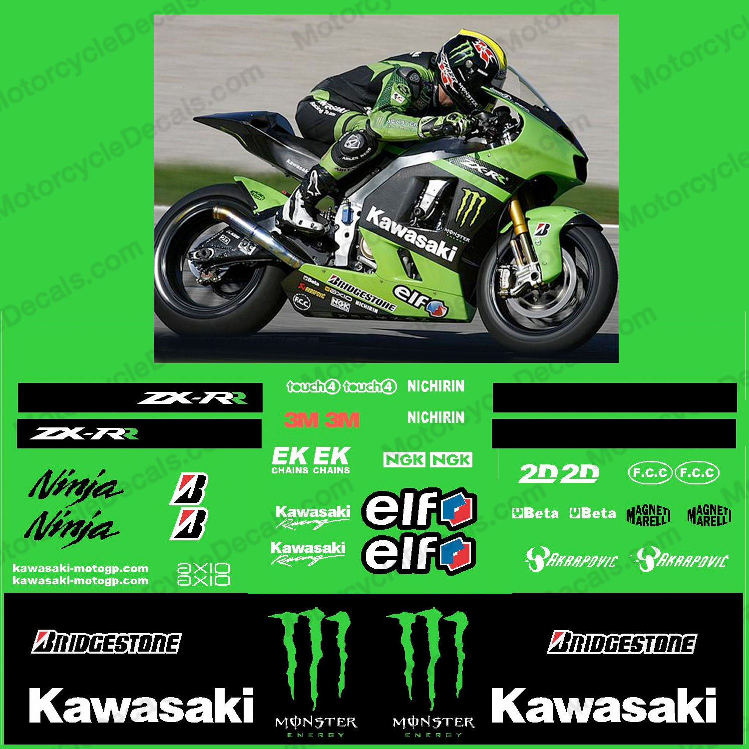 Kawasaki ZX-RR Monster Energy Race Decal Kit