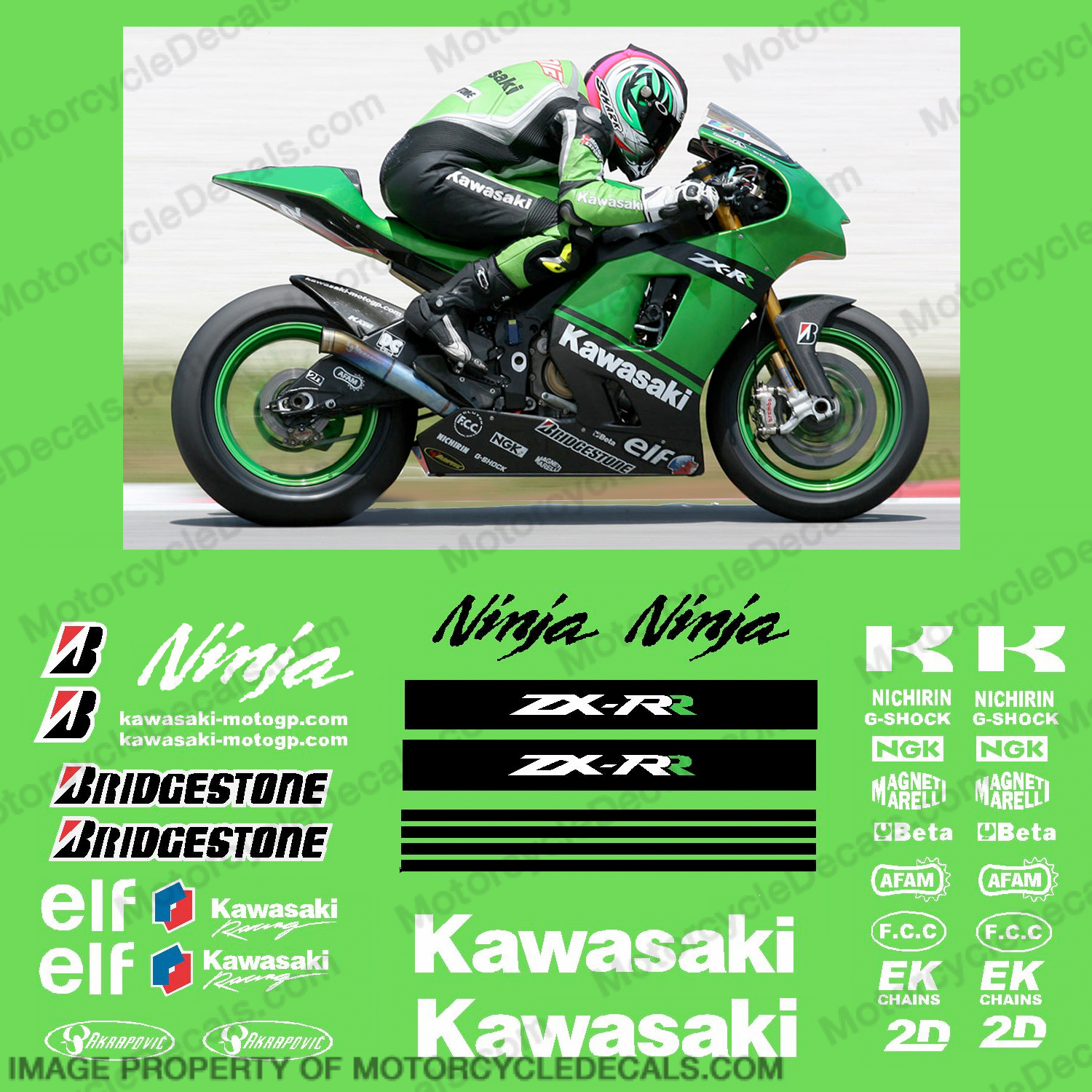 Kawasaki Kawasaki Motogp Race Decal Kit 2007 R K Zx Rr 07