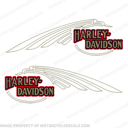 Harley-Davidson FXSTC Softail Decals Gold / Red (Set of 2) - Fuel Tank Harley-Davidson, fxstc, Decals,  silver, (Set of 2), 14471, Harley, Davidson, Harley Davidson, soft, tail, 1995, 1996, 96, softtail, soft-tail, softail, harley-davidson, Fuel, Tank, Decal, 2009