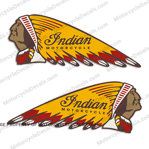 Indian Gas Tank Decals Set Of 2 Multi Color