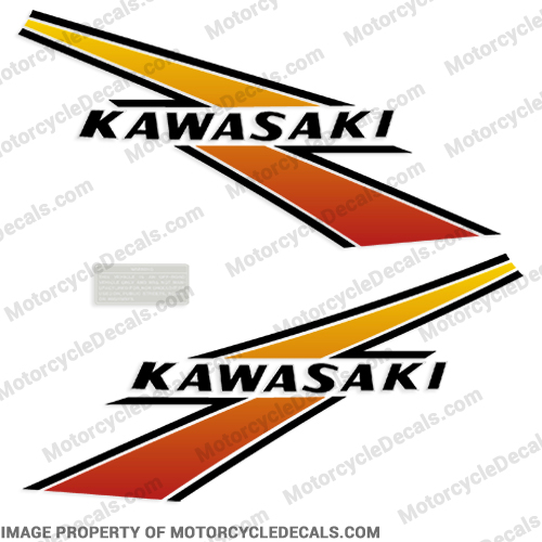 Kawasaki KD175 Fuel Tank Decals - 1977