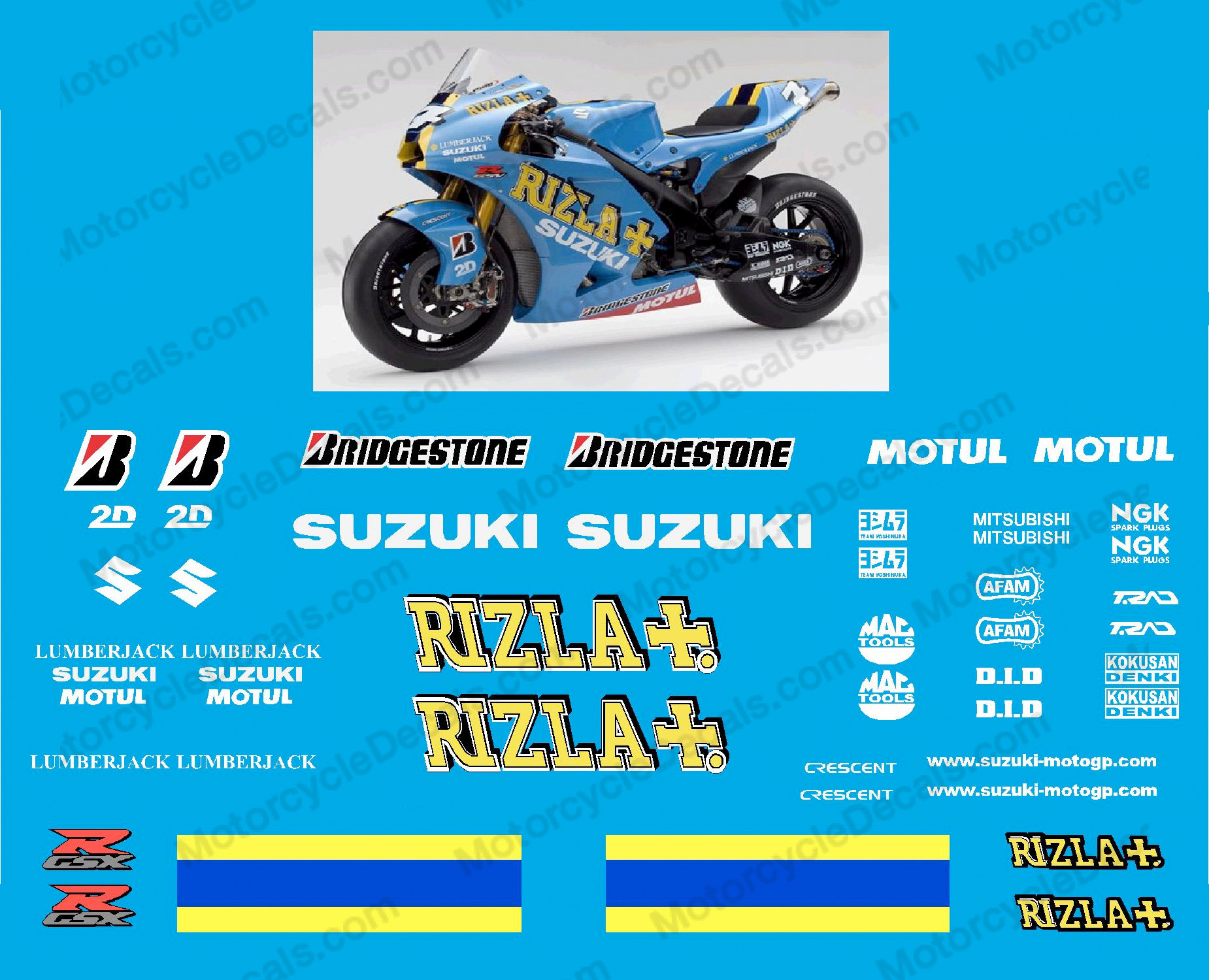 Suzuki GSX-R Rizla Race Replica Decals - 2008