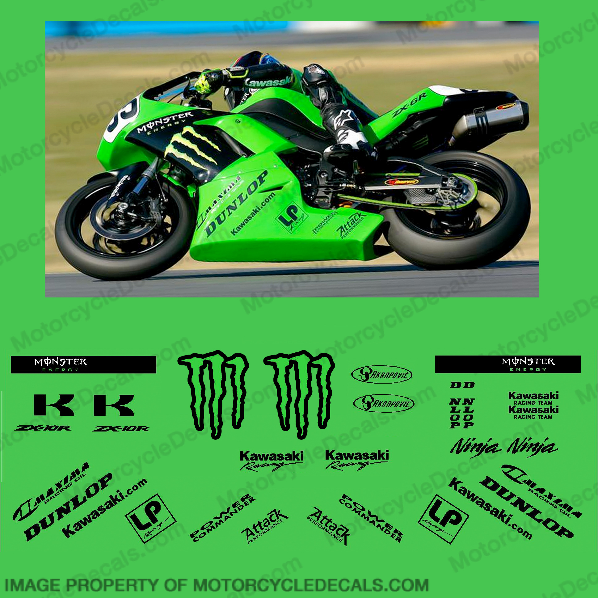 Kawasaki ZX-6R Monster Race Decal Kit