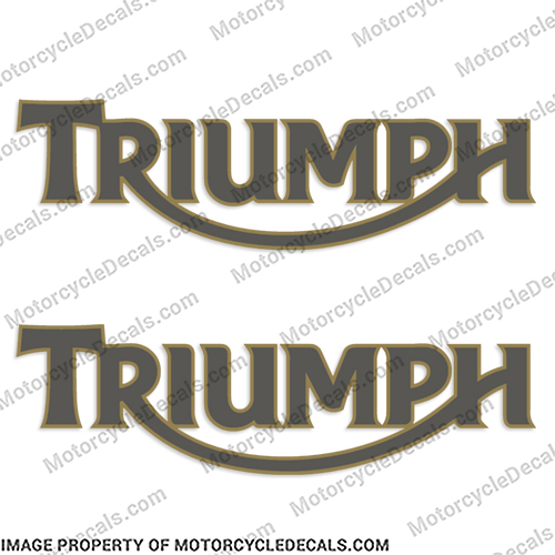 Triumph Retro Gas Tank Decals (Set of 2) - Gold/Dark Grey